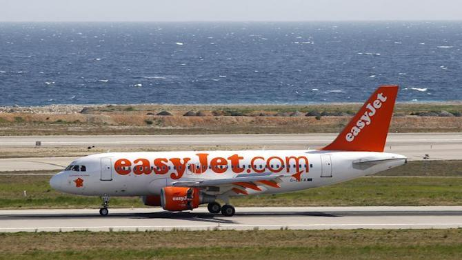 An Easyjet airliner lands for the opening of a new base of the low cost airline at Nice International airport