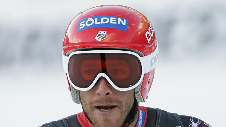 Miller of the U.S. reacts after crossing the finish line during the men's World Cup Downhill skiing race in Val Gardena