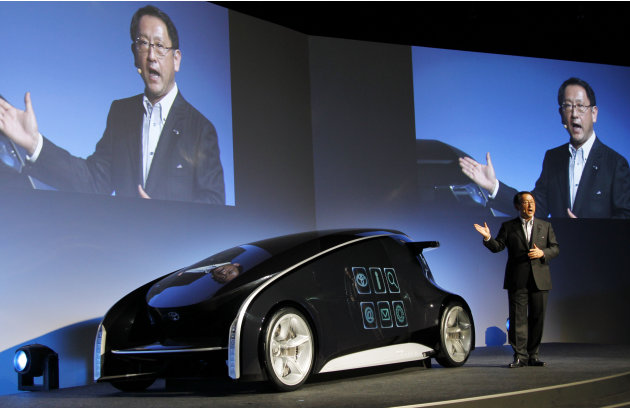 Toyota Motor Corp. President Akio Toyoda speaks about Toyota Fun-Vii in Tokyo Monday, Nov. 28, 2011. Toyoda unveiled the futuristic concept car resembling a giant smartphone to demonstrate how Japan's