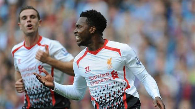 Liverpool's Daniel Sturridge celebrates scoring the opening goal (PA)