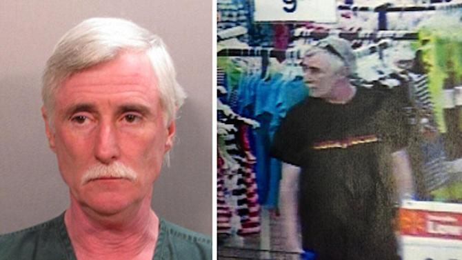 This combination of photos provided by the Jacksonville Sheriff's Office on Saturday, June 22, 2013 shows a police booking photo of Donald James Smith and an image of him from cameras in the Walmart Supercenter store where 8-year-old Charish Lilly Perriwinkle, who was shopping with her mother, went missing Friday evening. The registered sex offender was charged with murder after the girl's body was found Saturday morning. (AP Photo/Jacksonville Sheriff's Office)
