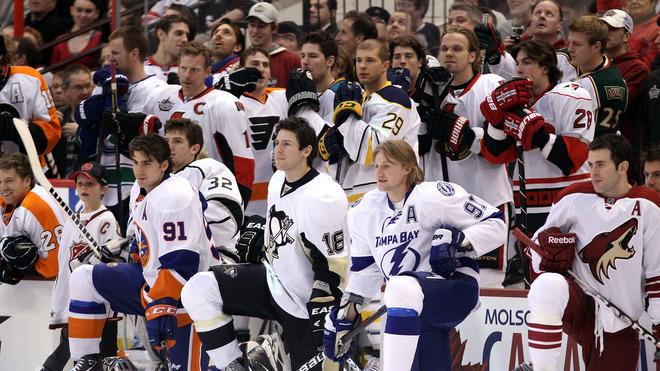 (L-R) John Tavares #91 Of The New York Islanders, James Neal #18 Of The Pittsburgh Penguins And Steven Stamkos #91 Of Getty Images