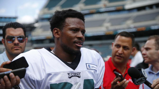 Philadelphia Eagles cornerback Bradley Fletcher talks with members of the media after NFL football training camp Monday, July 28, 2014, in Philadelphia. (AP Photo/Matt Rourke)