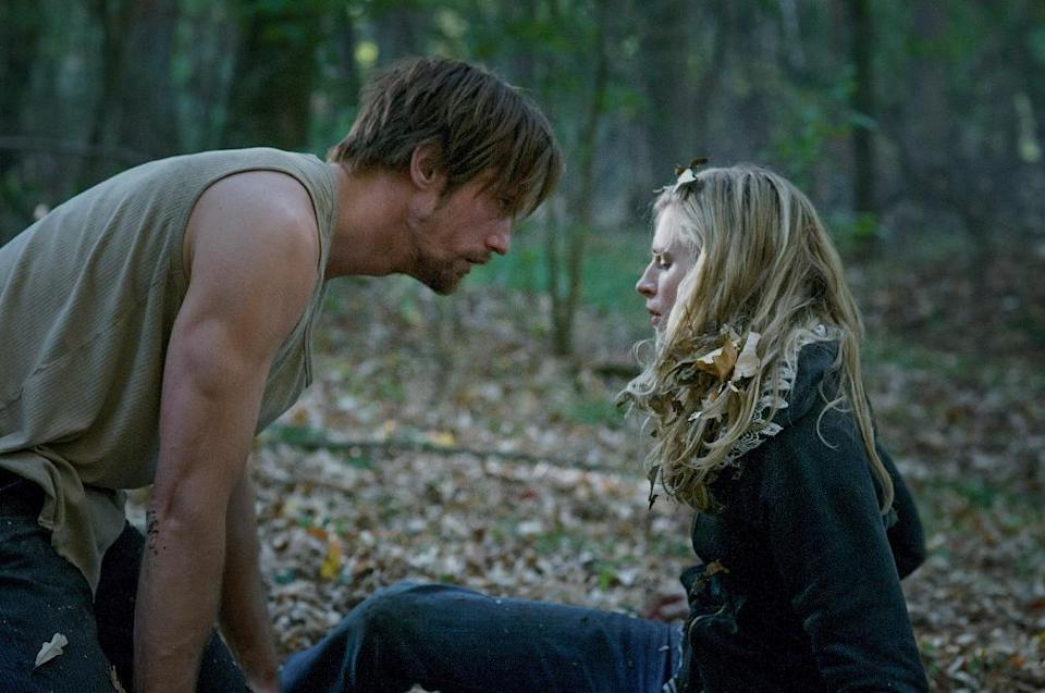 "This film publicity image released by Fox Searchlight Pictures shows Brit Marling, right, and Alexander Skarsgard in a scene from ""The East."" (AP Photo/Fox Searchlight Pictures, Myles Aronowitz)"