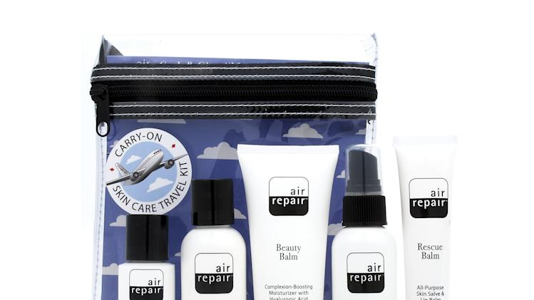 This undated image provided by the website 3floz.com shows the company's Air Repair Kit, which includes skin care products designed for travelers. The 3floz.com website specializes in selling health and beauty products in sizes that are permitted in carry-on luggage on airplanes by the Transportation Security Administration. (AP Photo/3floz.com)