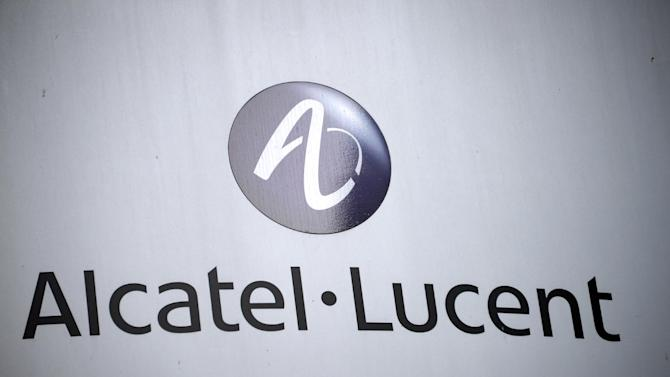 A picture taken on October 8, 2013 in Rennes, western France, shows the logo of French-US telecom-equipment maker Alcatel-Lucent on the facade of the Rennes' plant