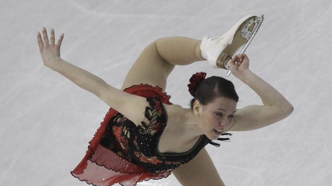 Sara Hecken of Germany performs during her women short program at the 2012 World Figure skating Championships in Nice, southern France, Thursday, March 29, 2012. (AP Photo/Lionel Cironneau)