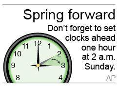 Graphic to be used as a reminder to turn the clocks forward one hour; 1c x 1 inches; 46.5 mm x 25 mm;