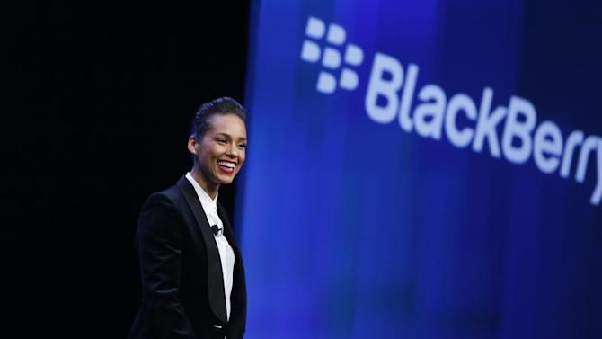 Singer songwriter Keys takes the stage after being introduced as the 'Global Creative Director' for RIM during the launch of the RIM Blackberry 10 devices in New York