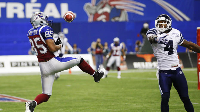 Alouettes Bratton misses a catch in the endzone as Argonauts Horne defends him during the CFL's Eastern Conference Final football game in Montreal