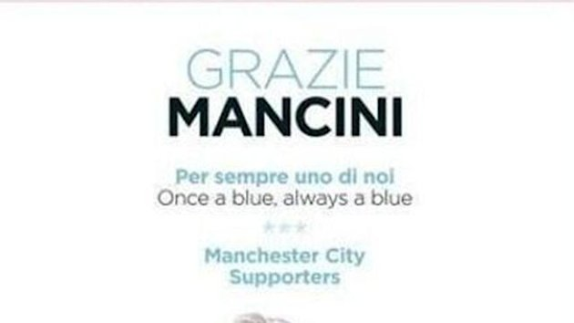 City fans' Gazzetta advert to thank Mancini