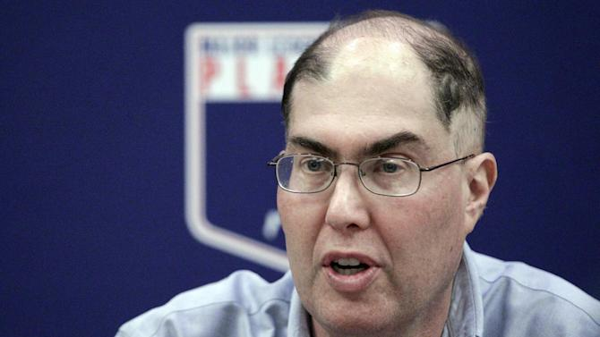 FILE - In this Nov. 28, 2012 file photo, baseball union head Michael Weiner speaks during a news conference in New York. Weiner says, Monday Feb. 25, 2013,  there's active discussion about increasing the penalties for violating baseball's drug testing program. Weiner says players have very little patience for seeing their peers try to cheat the system.  (AP Photo/Frank Franklin II, File)