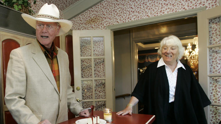 "FILE - In this Thursday, Oct. 9, 2008 file photo, actor Larry Hagman and his wife Maj, visit the kitchen area of the Southfork Ranch mansion in Parker, Texas made famous in the television show ""Dallas.""  Actor Larry Hagman, who for more than a decade played villainous patriarch JR Ewing in the TV soap Dallas, has died at the age of 81, his family said Saturday Nov. 24, 2012.  (AP Photo/Tony Gutierrez, File)"