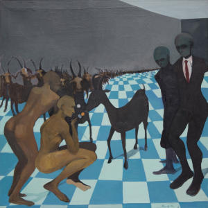 """This supplied photograph with permission granted to publish shows a reproduction of """"The Goat Interview"""" produced in 2011 by emerging Zimbabwean artist Richard Mudariki.  Mudariki's colorful, modernist and abstract paintings reflect his upbringing, the social turmoil in his homeland, and the challenges the country still faces. Several pieces have been bought by the Equatorial Guinea Museum of Modern Art and are on display at the weekend's Joburg ArtFair, Africa's largest exhibition of contemporary African art. (AP Photo/Johans Borman Fine Art, HO)"""