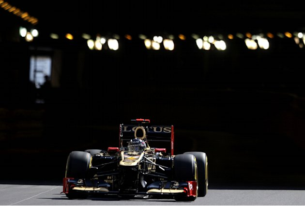 Lotus F1 Team's Finnish driver Kimi Raikkonen drives during first practice session at the Circuit de Monaco on May 24, 2012 in Monte Carlo ahead of the Monaco Formula One Grand Prix.      AFP PHOTO /