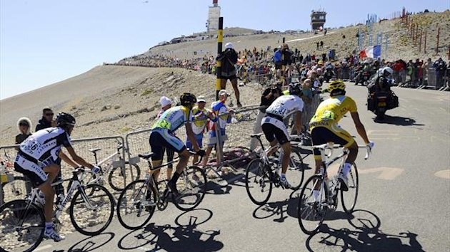 The leaders climb Mont Ventoux at the 2009 Tour de France