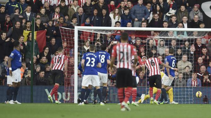 Everton's Romelu Lukaku scores an own goal against Everton during their English Premier League soccer match at St Mary's Stadium in Southampton