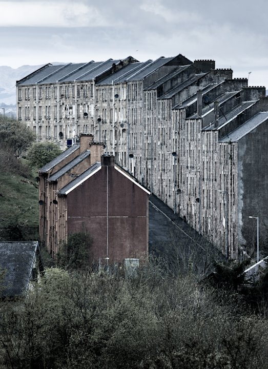 'Condemned', Port Glasgow, Inverclyde, Scotland: Simon Butterworth's shot of an imposing row of traditional Scottish tenement buildings was declared the winner of the Urban View, adult class section.