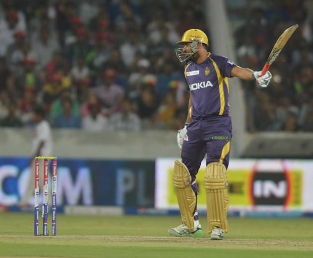 Yusuf Pathan in action during the match between Sunrisers Hyderabad and Kolkata Knight Riders at Rajiv Gandhi International Cricket Stadium Uppal in Hyderabad (Deccan), May 19, 2013. (Photo: IANS)