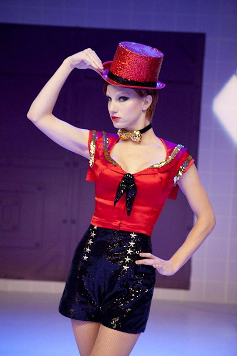 Brittany (Heather Morris) performs as Columbia in &quot;The Rocky Horror Glee Show&quot; episode of &quot;Glee.&quot; 