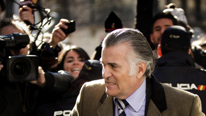 FILE -  In this Feb. 6, 2013 file photo, former Popular Party's treasurer, Luis Barcenas, arrives to the anti-corruption prosecuting office in Madrid. After two years of recession, harsh austerity programs, sky-high unemployment and an unstable footing on the world's markets. Now comes a corruption scandal that has shaken the government to its core. And it's raising questions whether Prime Minister Mariano Rajoy can survive the fallout from allegations that he and others benefited from years of slush fund handouts. (AP Photo/Daniel Ochoa de Olza, File)