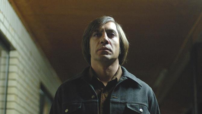 """FILE - This undated publicity file photo released by Miramax shows actor Javier Bardem as Anton Chigurh in a scene from """"No Country for Old Men.""""  (AP Photo/Miramax Films, Richard Foreman, File)"""