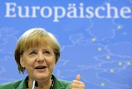 <p>German Chancellor Angela Merkel gives a press conference on the final day of an EU summit in Brussels on October 19. Merkel, who faces general elections next year, left no room for doubt about her position on direct recapitalisation for banks that have already been bailed out.</p>
