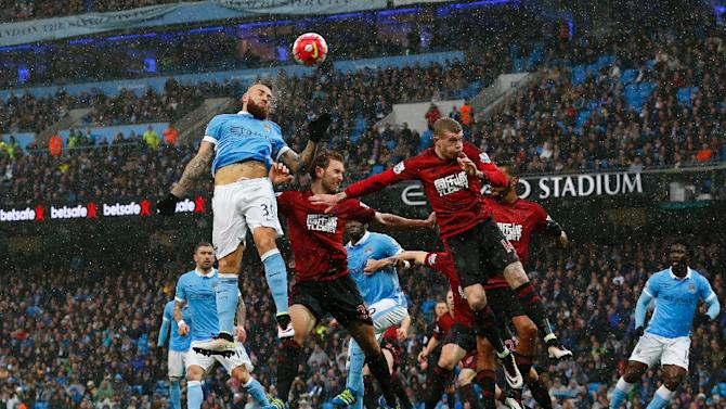 Manchester City go head to head with West Bromwich Albion at the Etihad Stadium in Manchester, north west England