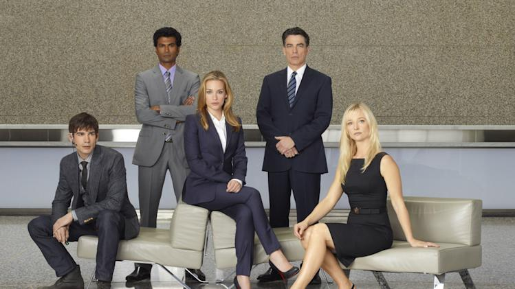 "Christopher Gorham as Auggie Anderson, Sendhil Ramamurthy as Jai Wilcox, , Piper Perabo as Annie Walker, Peter Gallagher as Authur Campbell, Kari Matchett as Joan Campbell in ""Covert Affairs."""