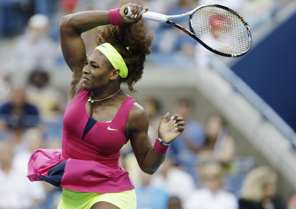 Serena Williams returns a shot to Italy's Sara Errani during a semifinal match at the 2012 US Open tennis tournament,  Friday, Sept. 7, 2012, in New York. (AP Photo/Darron Cummings)