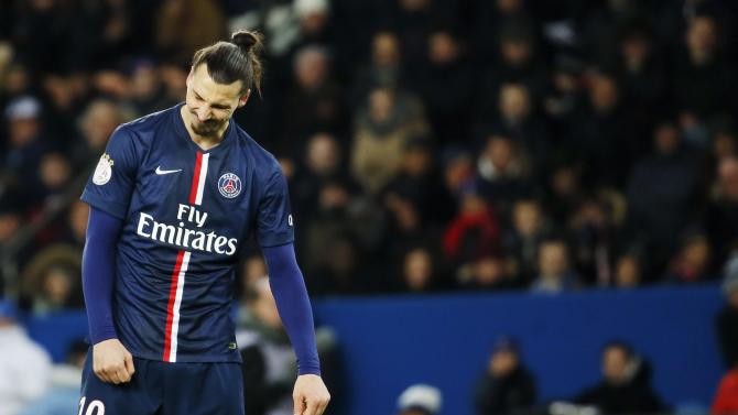 Paris St Germain's Ibrahimovic reacts during their French Ligue 1 soccer match against Stade Rennes at Parc des Princes stadium in Paris