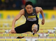 China's Liu Xiang competes in the men's 110m hurdles round 1 heat 1 at the 2012 Diamond League athletics meet at Crystal Palace in London on July 13. England's miserable summer weather has prompted Chinese athletics star Liu Xiang to leave London and complete his pre-Olympics training in Germany