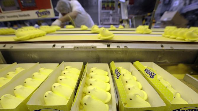 FILE - In this Wednesday, Feb. 13, 2013 file photo, Peeps move through the manufacturing process, at the Just Born factory in Bethlehem, Pa. The Commerce Department said Tuesday, April 2, 2013 that factory orders increased 3 percent in February. That's up from a 1 percent decline in January and the biggest gain in five months. (AP Photo/Matt Rourke)