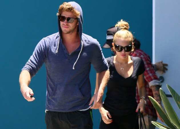 Liam Hemsworth and Miley Cyrus are seen on on July 16, 2012 in Los Angeles, Calif. -- Getty Premium