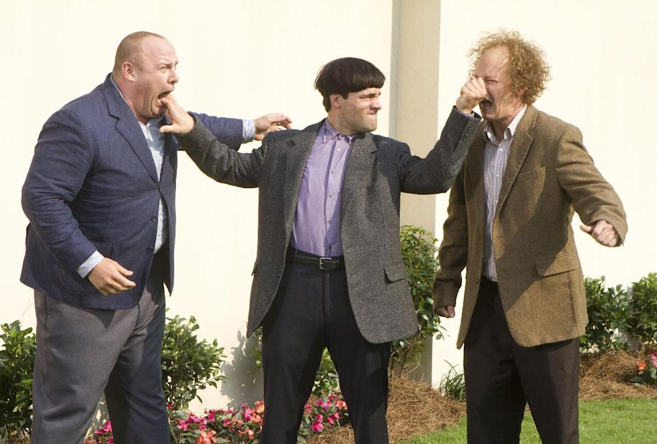 "In this image released by 20th Century Fox, from left, Will Sasso, Chris Diamantopoulos, and Sean Hayes are shown in a scene from ""The Three Stooges."" (AP Photo/20th Century Fox, Peter Iovino)"