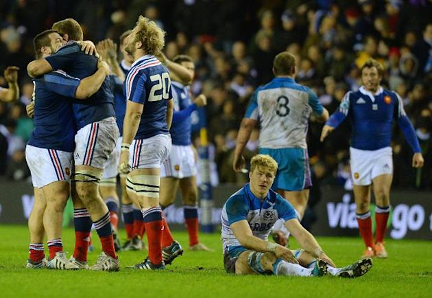 Scotland's David Denton (Below) reacts at the final whistle after his team were beaten 19-17 during their Six Nations Rugby Union international against France at Murrayfield, on March 8, 2014