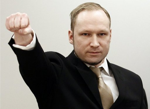 Breivik made a clenched fist salute after entering the courtroom