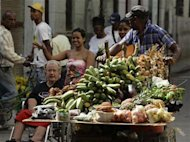 A man pushes his cart with vegetables and fruit for sale on a street in Havana March 14, 2012. REUTERS/Desmond Boylan