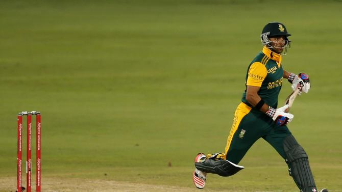 South Africa's JP Duminy makes a run during the fifth One-Day International (ODI) against the West Indies in Centurion
