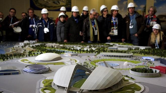Journalists Attend The Presentation Of A Model Of The Olympic Park On February 10, 2012, AFP/Getty Images