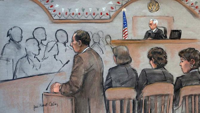 It this courtroom sketch, U.S. Attorney William Weinreb, left, is depicted delivering opening statements in front of U.S. District Judge George O'Toole Jr., right rear, on the first day of the federal death penalty trial of Boston Marathon bombing suspect Dzhokhar Tsarnaev, Wednesday, March 4, 2015, in Boston. Tsarnaev, depicted seated second from right between defense attorneys Judy Clarke, third from right, and Miriam Conrad, right, is charged with conspiring with his brother to place two bombs near the marathon finish line in April 2013, killing three and injuring 260 people. (AP Photo/Jane Flavell Collins)
