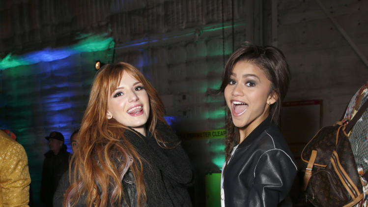 Bella Thorne and Zendaya attend the 16th Annual Friends 'N' Family Pre-Grammy Party at Paramount Studios on Friday, Feb. 8, 2013 in Los Angeles. (Photo by Todd Williamson/Invision/AP)