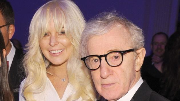 Lindsay Lohan and Woody Allen are spotted at the amfAR New York Gala To Kick Off Fall 2012 Fashion Week at Cipriani Wall Street in New York City on February 8, 2012 -- Getty Premium
