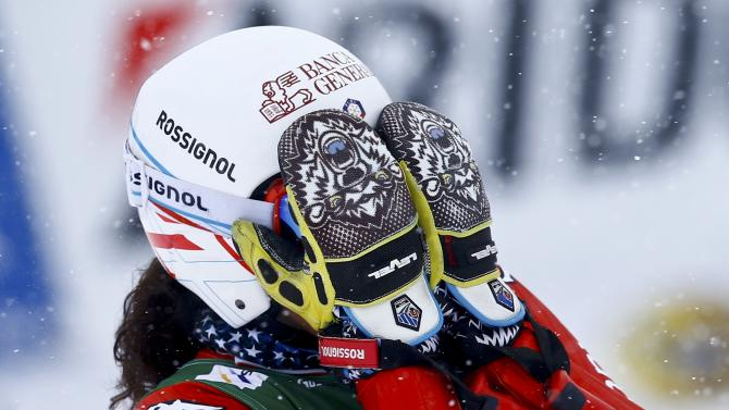 Brignone of Italy reacts after her second run of the World Cup Women's Giant Slalom race in Kuehtai ski resort