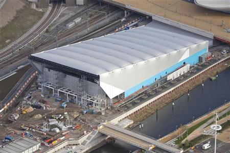 An aerial view shows the London 2012 Olympic Games Water Polo Arena in the Olympic Park in London