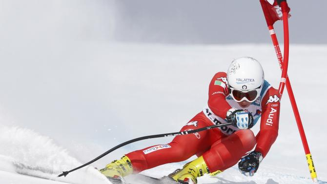 Marsaglia of Italy competes during women's Alpine Skiing World Cup Super-G in St. Moritz