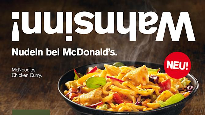 "This image provided by McDonald's shows the McDonald's menu item McNoodles Chicken Curry. McDonald's Corp. plans to introduce its ""McNoodles"" in Austria for a limited time, starting Thursday, Sept. 20, 2012. The company offers regional options in various parts of the world and says Asian noodles are popular in the country. (AP Photo/McDonald's)"