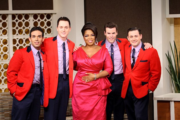 "Oprah hosts The Jersey Boys during her trip back to the '60s on a special episode of ""The Oprah Winfrey Show"" on September 21, 2009."