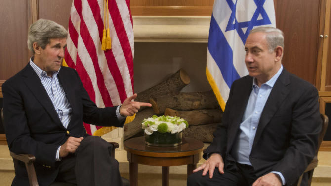 U.S. Secretary of State John Kerry, left, meets with Israeli Prime Minister Benjamin Netanyahu in Jerusalem on Thursday, June 27, 2013. Kerry is in Israel for the fifth time to make further efforts to resume peace talks between Israel and the Palestinians. (AP Photo/Jacquelyn Martin, Pool)