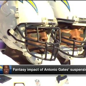 What is the fantasy impact of San Diego Chargers tight end Antonio Gates' suspension?